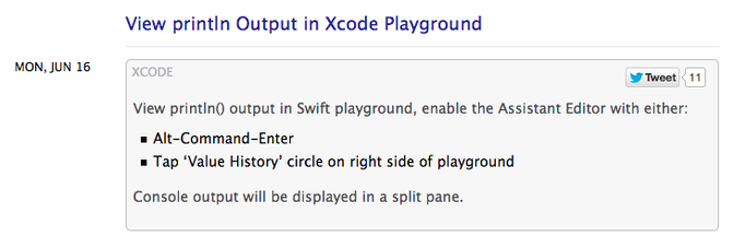 Swift – View println Output in Xcode Playground