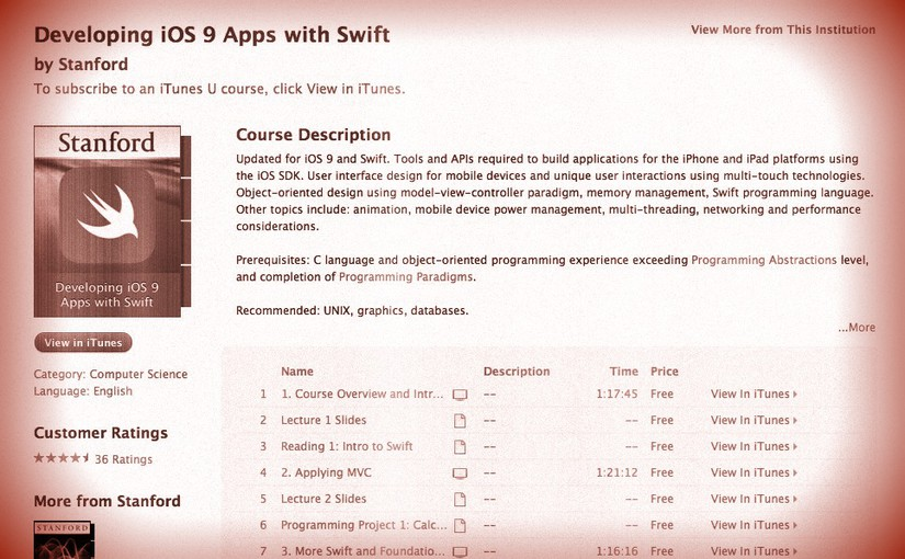 cs193p – Lecture #1 – Course Overview and Introduction to iOS, Xcode, and Swift